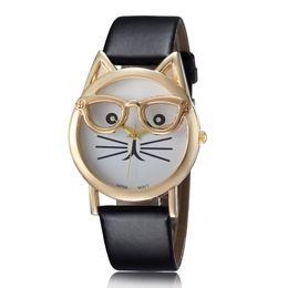 Wholesale Quality Women s Cat Eyeglasses Wristwatch Leather Strap Quartz Analog Watches Fashion Bracelet Wrist Watch Best Gift