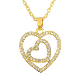 Silver   18k Gold Plated Iced Out Double Heart Crystal Stone Pendant Necklace