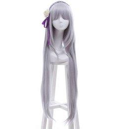 Wholesale Zero kara Hajimeru Isekai Seikatsu cosplay wig Amelia wig long gray wig long straight gray wig anime cosplay for women