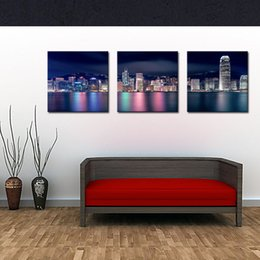 Wholesale 3 panels Picture City Paintings Wall Art Decor Hong Kong Victoria Harbour at Night Print on Canvas for Modern Home Decoration