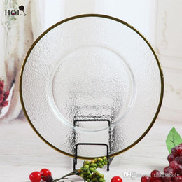 Wholesale Cheap Fancy Restaurant Catering Gold Rimmed Clear Glass Decoration Charger Plate