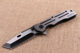 Trefilado de acero en Línea-Nuevo cuchillo plegable de la aleta de los 22cm fuerte 440C Hoja del final del dibujo del alambre 58HRC toda la manija de acero Cuchillos al aire libre de la supervivencia de la supervivencia