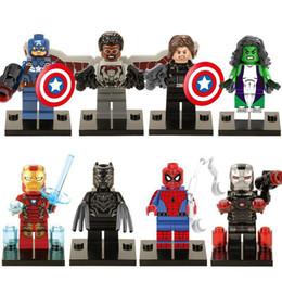 Araignées noires à vendre-480pcs / lot X0114 Marvel Superheroes Faucon / Spider-Man / She-Hulk / Panthère noire Captain America 3 Figurines Guerre Civile Jouets Cadeau Enfants