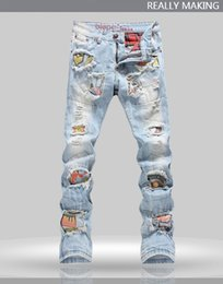Wholesale 2016 Hot Dimensional cut Top Quality Men s Jeans Punk Rock Nightclub DS DJ Do The Old Slim Jeans beggar pants Stage clothes