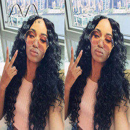 chinese human hair lace wigs natural hairline middle part curly glueless full lace wig for black women