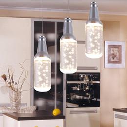 Modern 5W LED acrylic bottle Pendant Lamps For Hotel bar counter KTV pendant light Restaurant K9 Crystal chandelier Home decoration