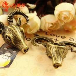 A3620 39 * 40MM Antique Bronze Retro sheepshead pendentif manuelles bijoux bricolage gros charmes tibétains en vrac, de chèvre charme de la tête, des charmes d'animaux à partir de charmes de chèvre fournisseurs
