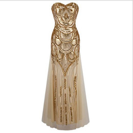 new Long Strapless evening dress Gold Off-Shoulder Dress Art Deco Gatsby Vintage Vestido Sequined Shining Sexy Party Gown With Recoil Belts