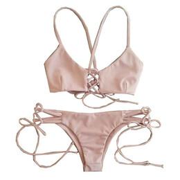 Women's Bikini Pink Swimsuit Swimwear Bandeau Push Up Bra Bathing Suits Free Shipping