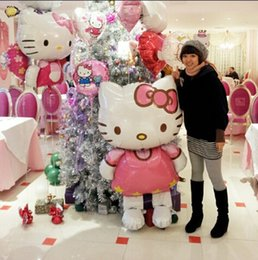 Wholesale Big Hello Kitty Cat inflatable cartoon foil balloons birthday party decoration kids gifts balls Classic toys Air balls