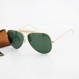 Wholesale 2016 Top Brand High Quality Classics Pilot Shooter Sunglasses Men Women Alloy Metal Frame Crystal Green Glasses Lens mm Case Box