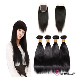 Popular Hairstyle Malaysian Straight 8a Virgin Human Hair With Closure 5pcs Lot Womenhair Extensions Natural Malaysian Weave With a Closure