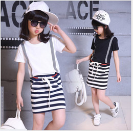 New 2018 Big Girls Summer Casual Dress Cute Girl Short Sleeve Stripe Dresses Kids Clothing Children Korean Style Cotton Stitching Dress