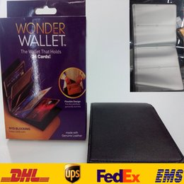 Wholesale Free EMS New Wonder Wallet Amazing Slim RFID Wallets Black Genuine Leather Card Casual Plain Traveling With Logo Package ZJ W02