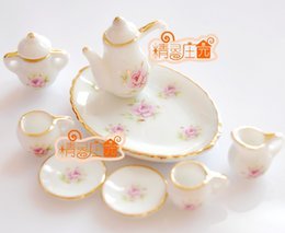 Wholesale G05 X471 children baby gift Toy Dollhouse mini Furniture Miniature rement pink rose tea set set