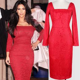Robes moulantes kardashian en Ligne-Nouvelle Arrivée Automne Européenne Lady Kim Kardashian Même Robe De Soirée En Dentelle Rouge Mince À Manches Longues Collier Carré Bodycon Robe Formal