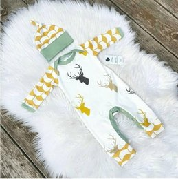 Wholesale Christmas Deer Baby Boys Clothing Costume Rompers Newborn Bebes Girls Jumpsuits Hats Clothes Fashion Long Sleeve Onesie Clothing
