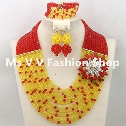 african beads jewelry set fashionable 10 rows orange white Dubai gold Nigerian Beads Necklace Earrings Bracelet Jewelry Set