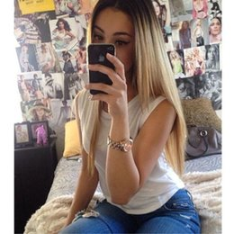 Wholesale Premium blonde ombre wig dark roots long natural straight wigs Brazilian Hair synthetic lace front wig heat resistant cheap price