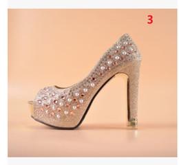 Promotion perles de diamant hauts talons 2017 nouveaux paillettes d'or chaussures de mariage Femmes étanche Taiwan 12 cm poissons bouche diamant perle ultra hauts talons
