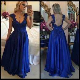 Wholesale 2017 Barbara Melo Royal Blue Cap Sleeveses Prom Dresses with Applique beaded bodice and Sexy open Back Prom Party Gowns