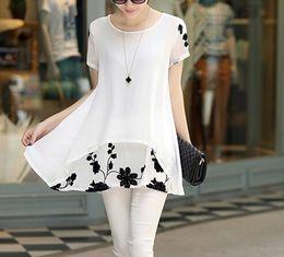 S-XXXXL Hot Sale Summer Tops 2016 print loose Short sleeve plus size dress chiffon white black dresses women clothing