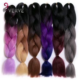 Wholesale 3 tone ombre braiding hair Kanekalon jumbo braids Fashion synthetic hair extension synthetic braiding hair more colors