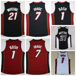 Wholesale Hot Sale Hassan Whiteside Jersey Throwback Chris Bosh Shirt Goran Dragic Uniforms Fashion Team Color Black Red White Best Quality