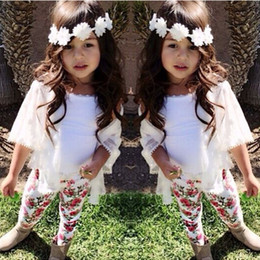 Wholesale Children Vest Fashion - kids clothes baby girl clothes black white vest+white jacket +floral pants 3pcs set baby girl fashion summer clothes suit children 1-8 years