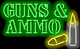 "Guns and Ammo with Graphic Neon Sign Custom Real Glass Tube Company Store Shop Shooting Sport Game Display Advertising Neon Signs 32""X16"""