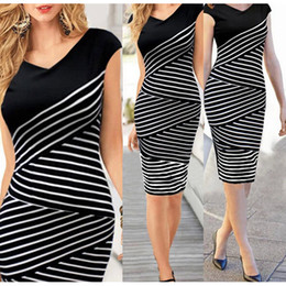 Elegant Women Summer V Neck Dress Black and white stripe Stitching Pencil Dresses Lady Knee-Length Party Bodycon Dress