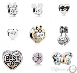 Wholesale Newest Fits Pandora sterling silver Charms Big Hole loose Beads Stamped for European Diy charms bracelet free shiping