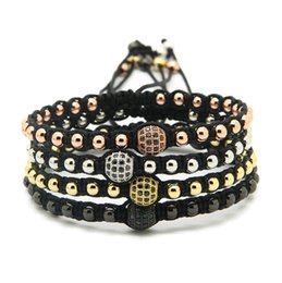 Wholesale High Grade Braiding Macrame Jewelry, 4mm Round Bronze Beads with 8mm Micro Paved Black Zircons Cz Bracelets