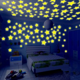 Wholesale 100Pcs Set Kids Bedroom Beautiful Fluorescent Glow In The Dark Stars Wall Stickers Baby Rooms Sticker Home Decoration