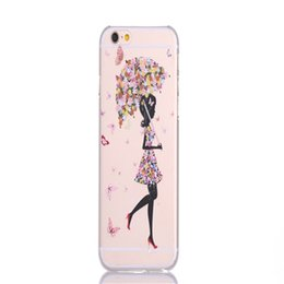 Wholesale Beauty Ultra Thin Transparent Phone shell Butterfly Girl PC Hard Cover Case For Iphone Inch