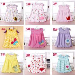 Wholesale baby girl cotton dresses summer cartoon skirt embroidered kids sleeveless A line dot flower striped princess dress for T children cheap