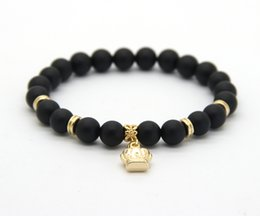 New Arrival Stone Jewelry Wholesale 8mm Real Matte Onyx Stone Beads with Crown Bracelets Party Gift