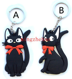 Miyazaki Hayao Kiki's Delivery Service Black Cat keychain key tag PVC key rings pendant black cats gigi Hanging Charm Wholesale 40 pcs lot