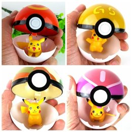 new arrival 13 Colors Cute Poke Ball With Pikachu Inside Pokeball Anime Master Ball Action Figures Toys 7cm