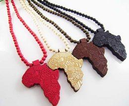 Wholesale Hip hop statement Necklaces Wooden Hand drawn GOOD WOOD NYC Map of Africa Beaded rosary necklaces colors