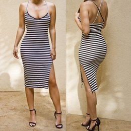 Wholesale Cheap Midi Bodycon Dresses - casual dress clearance for womens navy stripe skirt with shoulder-straps pencil bodycon clothing sexy cheap dresses ladies summer 2016 New