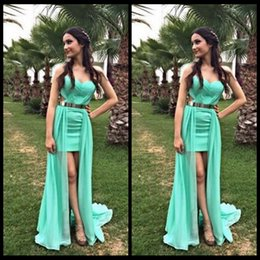 Wholesale New Design Green Homecoming Dresses Short Front Long Back With Sashes Detachable Train Prom Party Dress Online Store