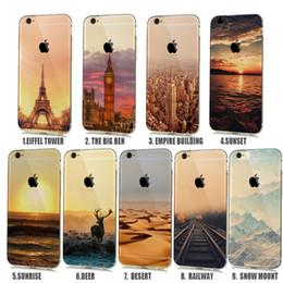 Wholesale Soft Natural landscape Rubbery Case for iphone S Plus S C Silicone Cover Effiel Tower Paris London City Capinhas para