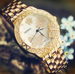 Regarder rose d'or à vendre-Geneva Watch Montres bracelet vente chaude Rose d'or unisexe bracelet en acier Diamante Cristal Mode stéréo papillon Luxe Livraison gratuite