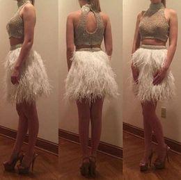 Compra Online Damas mini vestido vestido-La alta calidad de los vestidos de dos piezas de cóctel corto Mini 2017 vestidos del partido de baile de las señoras moldeadas de famosos