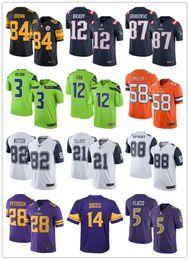 Wholesale Men Steeler Brown Cowboy Elliott Patriots Tom Brady Giants beckham Seahawks Russell Wilson Color Rush Legend Jerseys