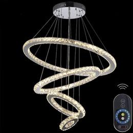 Miroirs suspendus décoratifs à vendre-Lustres en cristal en acier inoxydable miroir diamant Lighting 4 anneaux conduit lampes suspendues Cristal Dinning décoratif Lampe suspendue Dimmable