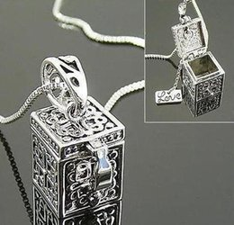 Wholesale Popular Vintage Jewelry Ancient Lace Eye Love Word Heart Magic Box Pendant Women Lady Party Dress Alloy Chain Necklace