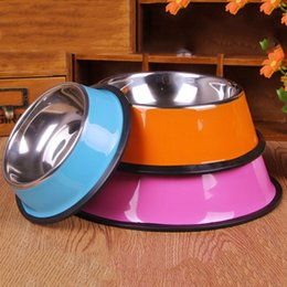Wholesale Stainless Steel Dog Bowl Pet Cat Trough Dog Feeders for Dogs Feeding Watering Supplies Food Container Dish Water Feeders JJ0005