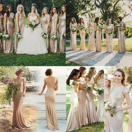 Wholesale Cheap Mermaid Bridesmaid Dresses Sparkly Rose Gold Short Sleeve Sequins Backless Long Beach Wedding Party Gowns Gold Champagne HS